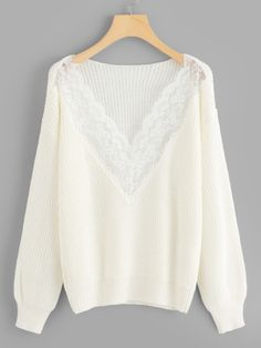 To find out about the Contrast Lace Solid Sweater at SHEIN, part of our latest Sweaters ready to shop online today! Fashion Online Shop, White Style, Lace Sleeves, Sweater Outfits, Sweater Weather, Fashion News, Fashion Fashion, Fashion Women, Vintage Fashion