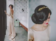 Low backed dress and gorgeous wedding hairstyle