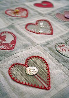 appliqued hearts - no tutorial - but cute!.