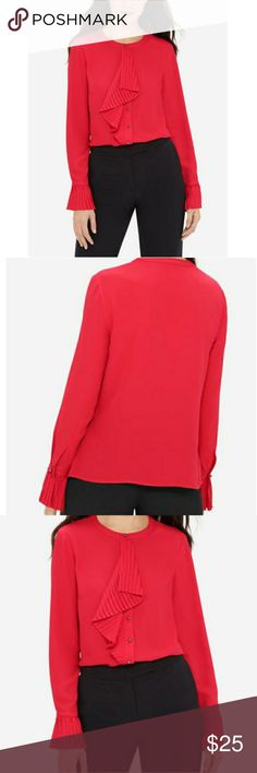 THE LIMITED EVA LONGORIA RED RUFFLE FRONT BLOUSE THE LIMITED EVA LONGORIA RED RUFFLE FRONT BLOUSE! Just elegant and romantic! Exclusively from the Eva Longoria collection. Ruffled details add feminine flair to this professional blouse. Complete your office look with a pencil skirt or trousers. Lightweight crepe Crew neck Button-front with ruffled jabot Long sleeves with ruffled 1-button cuffs. SMOKE FREE AND BEAUTIFUL! The Limited Tops