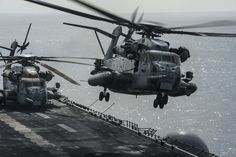 """zainisaari: """" I GOTTA WEAR SHADES CH-53E Super Stallion helicopters assigned to the Ridge Runners of Marine Medium Tiltrotor Squadron (VMM) 163 operate from the amphibious assault ship USS Makin Island (LHD 8) of the Makin Island Amphibious Ready..."""