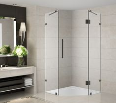 Add a desirable contemporary style to your corner shower allotment with Neoscape completely frameless neo-angle shower enclosure. Neoscape will instantly upgrade your bath. Square Shower Enclosures, Frameless Shower Enclosures, Frameless Shower Doors, Bathtub Doors, Bathtub Shower, Glass Shower, Toilet Storage, Shower Base, Deco Design
