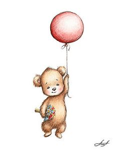The Drawing of Teddy Bear with Red Balloon and Flowers by Anna Abramska