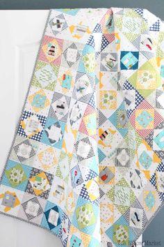 Economy Block Quilt. Little Boys quilt. Fussy Cut quilt. Throw sized quilt.