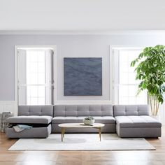 """Plateau """"U"""" Sectional, Armless Sofa, 2 Chaises, Heathered Crosshatch, Feather Gray at West Elm – Sectionals – Couches & Sofas – Living Room Furniture – Hazir Site Living Room Interior, Living Room Furniture, Home Furniture, Mirrored Furniture, Modern Furniture, Danish Furniture, Furniture Stores, West Elm, Living Room Sets"""