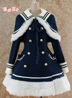 Zoom       Lolita Navy Blue Sailor Style A-line Winter Coat $88.99 1 Review(s) | Add Your Review Beautiful A-line bodyline lolita wintercoat, navy blue sailor style, tailored by wool, polyester, faux rabbit leather, available at wine, orange and green three colors. Custom Tailor available.