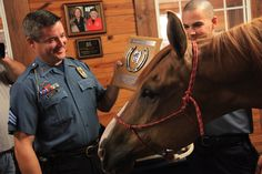Sergeant Major, one of our department's longest-serving Mounted Patrol horses, retired on August 7, 2013, because of an ankle injury. He can no longer do patrol work, but he's going to enjoy life back on the farm of the people who donated him near Cameron, Mo.