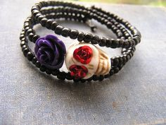 Check out this item in my Etsy shop https://www.etsy.com/listing/251439809/day-of-the-dead-bracelet-wrap-around