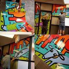 Custom Art Mural Decal Installation at Pets First Chicago Veterinary Clinic by Anne Leuck Feldhaus