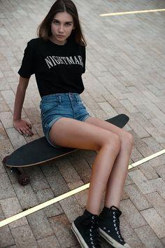 Skating chic , denim shorts with black converse  GG's tiny times