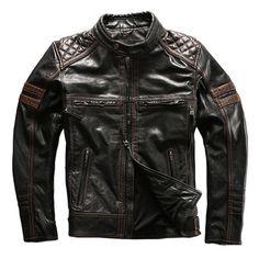 David MEN/'S green Fashion Stile Motociclista Moto Reale ITALIA Napa Giacca di pelle