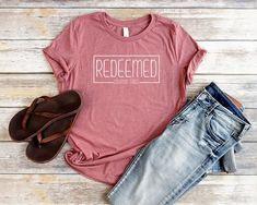 7f0ae2b9100 Redeemed Christian T Shirts for Women Relaxed Fit Redeemed Shirts Women  Bible Verse Shirts Women Jes