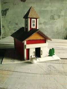 Vintage Primitive Wooden Barn by therhubarbstudio on Etsy, $29.00