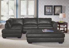 Lyon Gray Leather Collection | Furniture.com. he gray bonded leather sofa connects you to the latest in contemporary style without sacrificing a stitch of comfort.