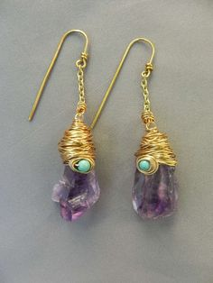 amethyst earrings - love the organic look of these