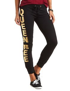 Queen Bee Graphic Skinny Sweatpants #CharlotteRusse #sweatpants #graphic