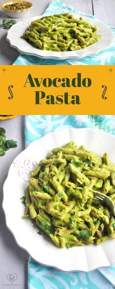 Creamy Avocado Pasta is naturally vegan, healthy, and delicious! #pasta #vegan #avocado