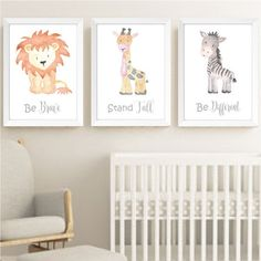 safari jungle animals nursery prints set of 3 watercolour animals