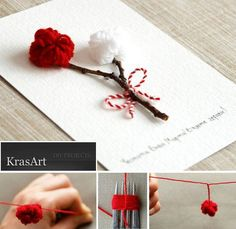 A postcard with pom poms / martisor Diy Sock Toys, Baba Marta, Diy Paper Christmas Tree, Yarn Bracelets, Jewelry Making Kits, Paper Crafts, Diy Crafts, Fabric Roses, Christmas Coloring Pages