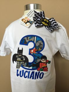 Batman and Robin Lego Birthday Tshirt Custom Creations, Personalized Birthday, Themed Party, Applique, Embroidery, Lego Party, Super Hero
