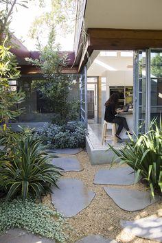 A seamless indoor-outdoor courtyard design terrace garden, indoor garden, c