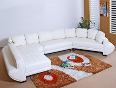 Ultra Modern White Bonded Leather Sectional Sofa Set (Brown, please)