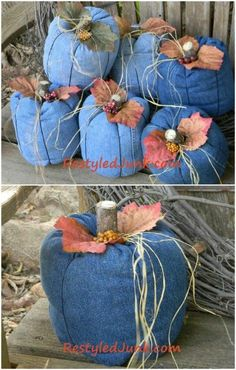 Incredible Repurposing Projects for Old Jeans that You Just aren't Ready to Toss Just in time for Halloween—recycled denim pumpkins!Just in time for Halloween—recycled denim pumpkins! Fabric Pumpkins, Fall Pumpkins, Autumn Crafts, Holiday Crafts, Fall Halloween, Halloween Crafts, Fabric Crafts, Sewing Crafts, Jean Crafts