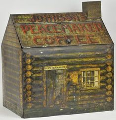 JOHNSON'S LOG CABIN COFFEE BIN Large store bin made of lithographed tin and marked Johnson's Peacemaker Coffee. Their 1915 advertising calendar can be seen in the doorway. Cabin Coffee, Coffee Tin, Coffee Love, Vintage Tins, Vintage Art, Vintage Kitchen, Plywood Furniture, Antique Coffee Grinder, Coffee Grinders