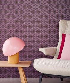 £48.09 Price per roll (per m2 £9.25), Retro wallpaper, Carrier material: Non-woven wallpaper, Surface: Smooth, Look: Shimmering pattern, Matt base surface, Design: Circles, Modern elements, Basic colour: Grey brown, Pattern colour: Red violet, Characteristics: Good lightfastness, Low flammability, Strippable, Paste the wall, Wash-resistant