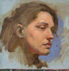 Этюд, портрет, Академия