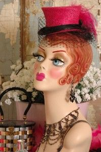 retro manequin heads | Vintage Style Moulin Rouge MANNEQUIN Head Hat/Wig Stand | Shop ...