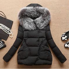 Autumn Winter Jacket Women 2016 Parkas for women Thick Warm Wadded Jackets and coats With a Hood Large Faux Fur Collar Coat