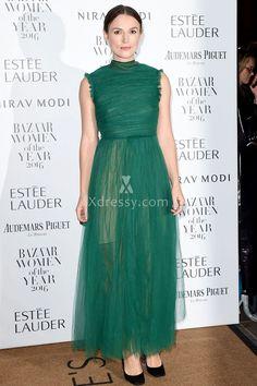Keira Knightley Sheer Green Tulle Prom Dress Harper's Bazaar Women 2016