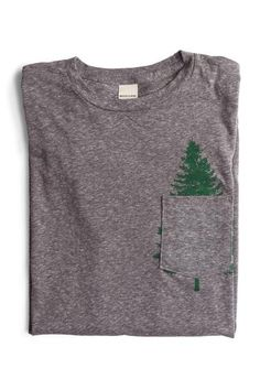 Custom Evergreen pocket t-shirt in a soft 60% cotton, 40% poly blend. Made in the USA. Designed by Bridge & Burn in Portland, OR.