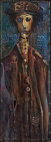 Alpo Jaakola:  Kavala taikuri, 1952, öljy levylle, 67x25 cm - Bukowskis F179