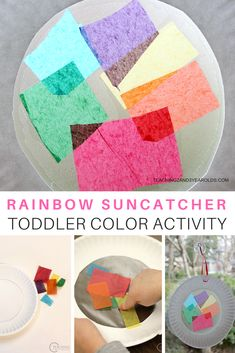 Put together this simple toddler rainbow art activity to brighten your classroom or home! A fun way to work on color skills while putting pieces of the rainbow on sticky paper for an easy suncatcher. Color Activities For Toddlers, Rainbow Activities, Spring Activities, Infant Activities, Classroom Activities, Young Toddler Activities, Colour Activities, Toddler Themes, Everyday Activities