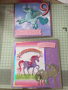 A couple of unicorn cards. The top one uses an image from la pashe and the bottom uses a page from a Hunkydory little book and a tattered lace die.