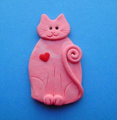 Polymer Clay Pink Cat with Red Heart Brooch or by Coloraudia, $10.00