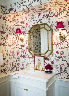 raspberry Chinoiserie powder room by Ashley Whittaker