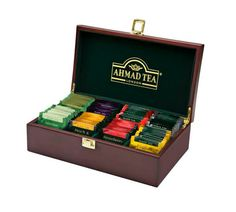 Buy the Tea Keeper Wooden Box with 80 Black, Fruit & Green Tea Foil Teabags from Ahmad Tea, a family business with 4 generations of tea expertise. From our tea selection gifts range. Wooden Tea Box, Wooden Boxes, Ahmad Tea, English Breakfast Tea, Tea Design, Afternoon Tea Parties, Tea Latte, Tea Packaging, Loose Leaf Tea