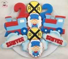 Train cookies, railway crossing cookies, train conductor cookies, train driver cookies, cloud cookies