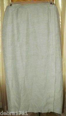 TALBOTS SEAFOAM LIGHT GREEN Silk Linen floral textured partial wrap skirt sz16