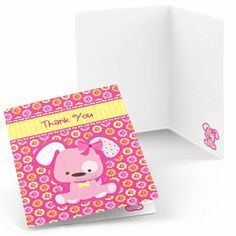 Set of 8 Pink Girl Puppy Thank You Cards  Dog by BigDotOfHappiness, $5.99