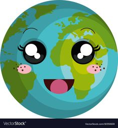 Planet earth kawaii character vector image on VectorStock Space Iphone Wallpaper, Things With Faces, Rainbow Cartoon, Astronaut Party, Pyramids Egypt, Planet Design, Kawaii Doodles, School Colors, Preschool Activities
