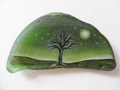 Green moonlit tree  Original acrylic painting on sea glass