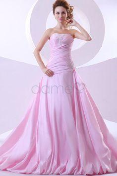 Ballrobe Schnürrücken Satin Taft Mitte Rücken trägerloses bodenlanges Brautkleid