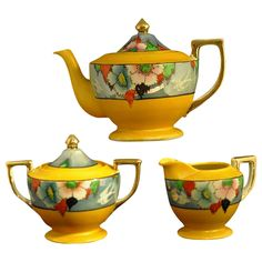 Japanese Lusterware Art Deco Hand Painted Teapot, Sugar and Creamer from Faded Rose Antiques on Ruby Lane