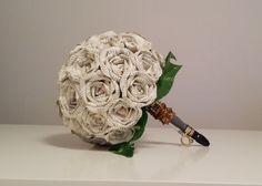 Dr. Who Round Book Page Paper Rose Bouquet by withloveandpetals