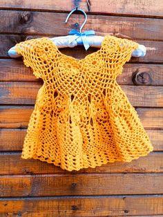 Crochet baby dress Crochet baby nappies Yellow baby dress
