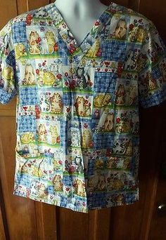 Cherokee Inspired Comfort Nursing Scrub Top Uniform Small, vet, dental Love cats